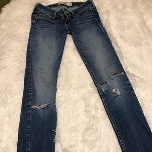 Light washed, distressed jeans